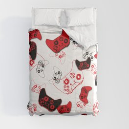 Video Game White and Red Comforters