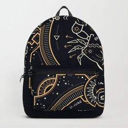 Cancer Zodiac Gold White with Black Background Backpack