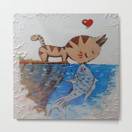 Love cats and fish Metal Print