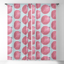 Spherical Abstract Watercolor Ladybug Sheer Curtain