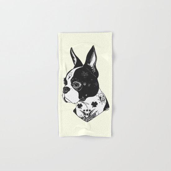 Dog - Tattooed BostonTerrier Hand & Bath Towel
