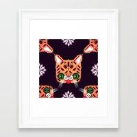 lil bub Framed Art Prints featuring Lil Bub Geometric Pattern by chobopop