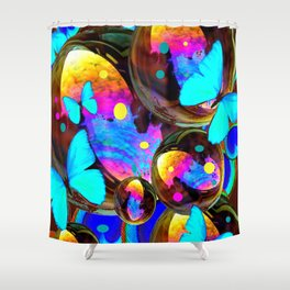 BLUE BUTTERFLIES & IRIDESCENT ORBS ART Shower Curtain