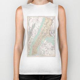 Vintage Map of New York City (1895) Biker Tank