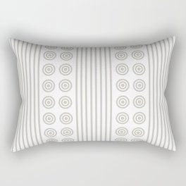 Geometric Dusky Silver Grey & White Vertical Stripes & Circles Rectangular Pillow