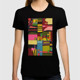 Colors in Collision 2 - Geometric Abstract in Blue Yellow Pink and Green T-shirt