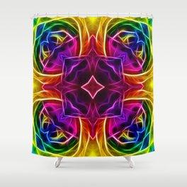 Rainbow Rose Kaleidoscope Mandala Shower Curtain
