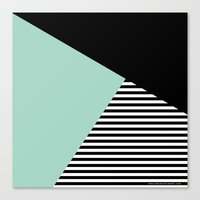 Mint Color Block with Stripes // www.penncilmeinstationery.com Canvas Print