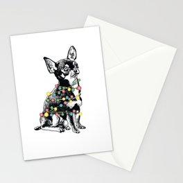 Chihuahua dog with colorful festoon Stationery Cards