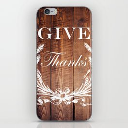 rustic western country barn wood farmhouse wheat wreath give thanks iPhone Skin
