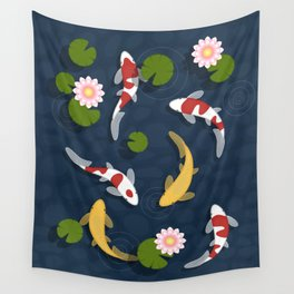 Japanese Koi Fish Pond Wall Tapestry