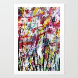 Abstract Acrylic Wild Flowers Art Painting Art Print