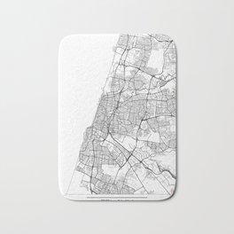 Tel Aviv Map White Bath Mat
