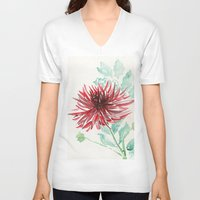 dahlia V-neck T-shirts featuring Bursting With Excitement  by Kate Havekost Fine Art