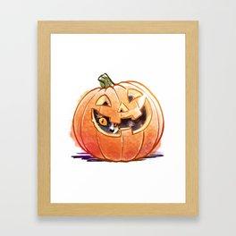 Pumpkin Spice Kitty Framed Art Print