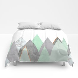 MINT COPPER MARBLE GRAY GEOMETRIC MOUNTAINS Comforters