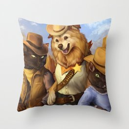 Cowboy Cats and Deputy Dog ~! Throw Pillow