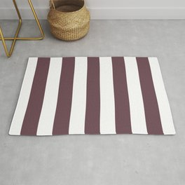 Deep Tuscan red purple - solid color - white vertical lines pattern Rug