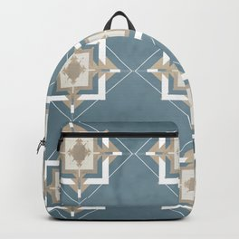 Teal and Taupe Mosaic Pattern Backpack