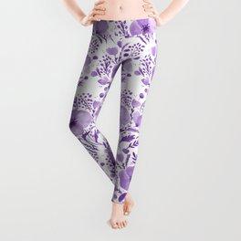 Flower bouquet with poppies - purple Leggings
