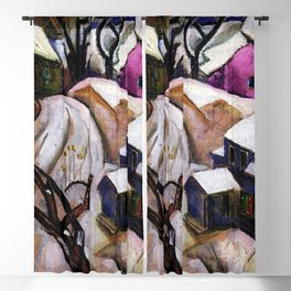 Bach Chord - Winter in a Small Town landscape painting William Sommer Blackout Curtain