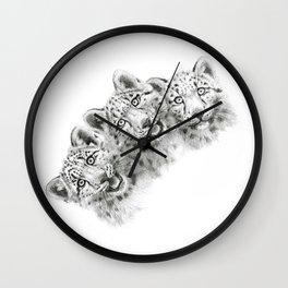 Snow Leopard cubs  SK056 Wall Clock