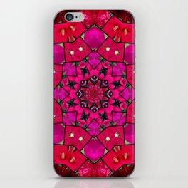 Garden mosaic kaleidoscope mandala - hot pinks iPhone Skin