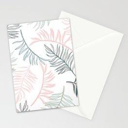 Large Pastel Palm Leaf Line Drawing Pattern - White Stationery Cards
