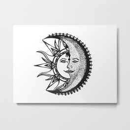 'El Sol Y La Luna' Sun and Moon Original Art, Space Wall Decor Metal Print