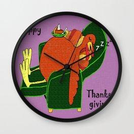 Sleeping Turkey with Pumpkin Pie Wall Clock