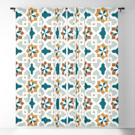 Geometric Pattern, oriental style (nature color set)  traditional morocco tile pattern Blackout Curtain