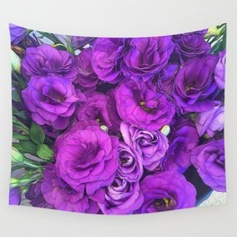 Purple Lisianthus Flowers Wall Tapestry