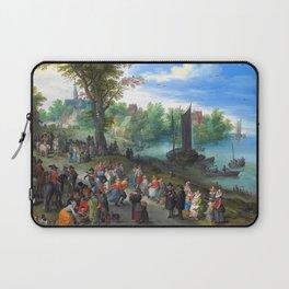 """Jan Brueghel the Elder """"People dancing on a river bank"""" Laptop Sleeve"""