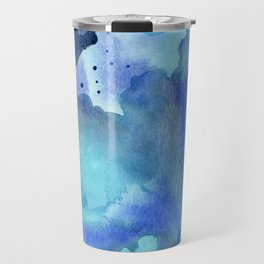 Blue Abstract Watercolor Painting Travel Mug