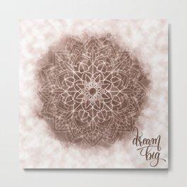Chic Watercolor Beige Mandala Metal Print