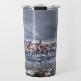 Segovia in Spain snowed in winter. Travel Mug