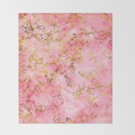 Raspberry Kiss - Pink Gold Marble Throw Blanket