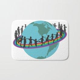Children on rainbow around the earth Bath Mat