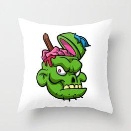 Zombie Head Illustration Throw Pillow