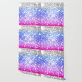 Galaxy Sparkle Stars Periwinkle Pink Wallpaper
