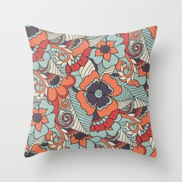 Colorful Vintage Floral Pattern Throw Pillow