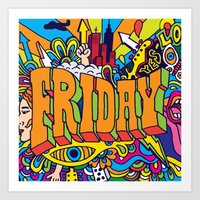 friday Art Prints featuring Friday by Roberlan Borges