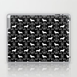 Corgi silhouette florals dog pattern black and white minimal corgis welsh corgi pattern Laptop & iPad Skin