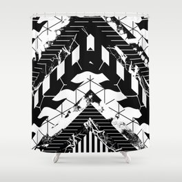 Layered (Black and white, abstract, geometric designs) Shower Curtain