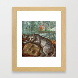 Napping on the cushion Framed Art Print