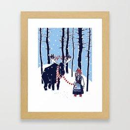 Den Swedish Christmas Moosen Framed Art Print
