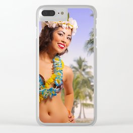 """""""Aloha"""" - The Playful Pinup - Coconut Shell Bikini Pinup Girl by Maxwell H. Johnson Clear iPhone Case"""