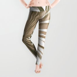 Brown on White Tropical Vibes Beach Palmtree Vector Leggings