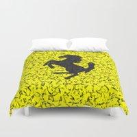 ferrari Duvet Covers featuring Yellow Homage To Ferrari by Giovanni Fontana