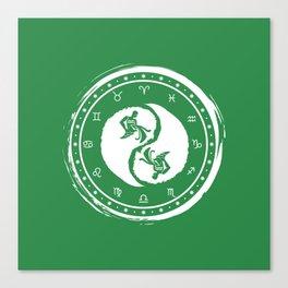Aquarius Yin Yang Eleventh Zodiac Sign Canvas Print